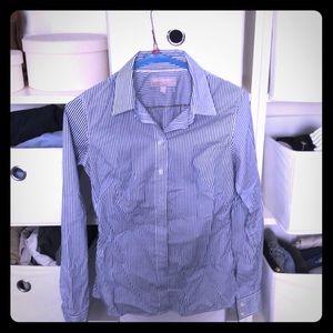 Blue/white stripes button up shirt
